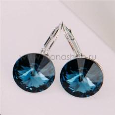 Серьги «Чародейка» с синими кристаллами Сваровски