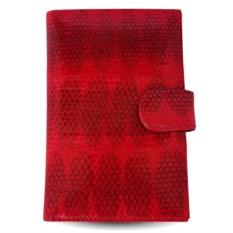 Красное портмоне для автодокументов из кожи морской змеи
