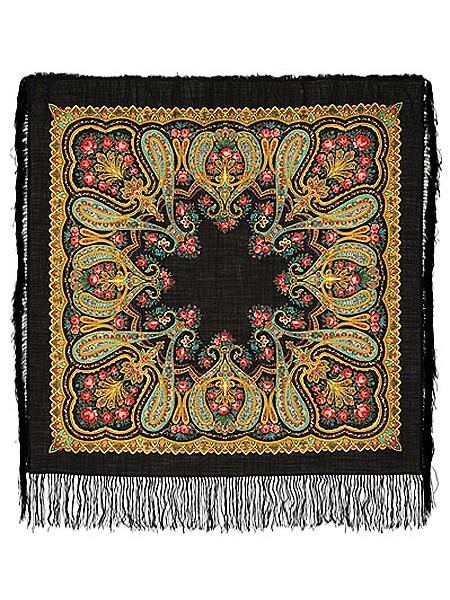Павлопосадский шерстяной платок с рисунком Рождественский