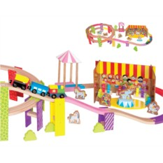 Набор Woody Деревянная железная дорога Цирк,  100 элементов