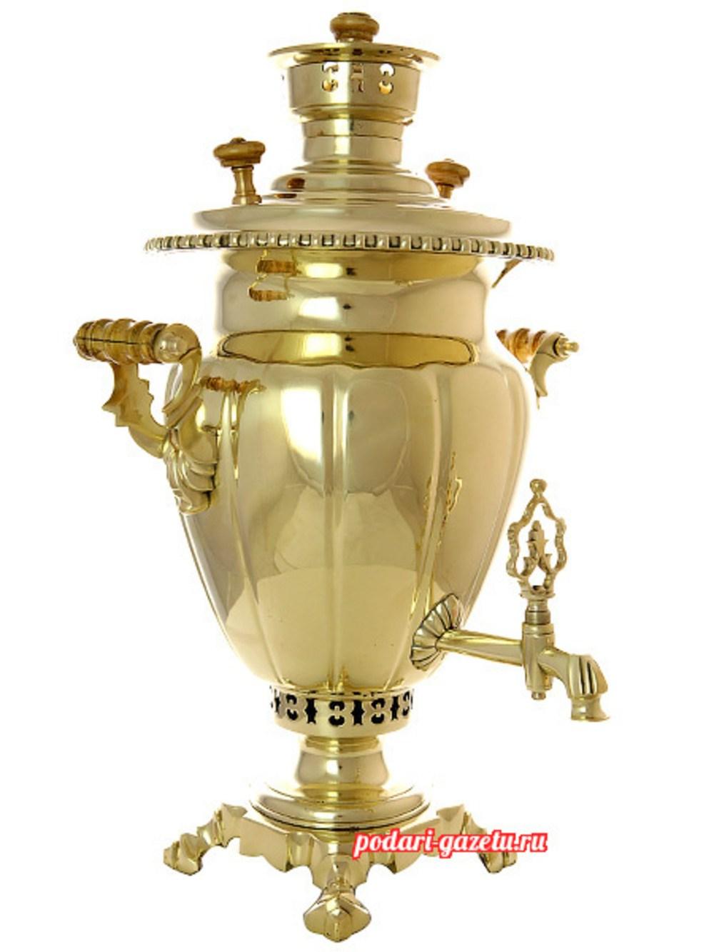 Угольный самовар (антикварный жаровой) (5 литров) желтый ваза