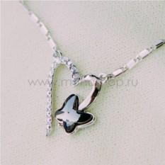Кулон с черным кристаллом Сваровски «Сердце бабочки»