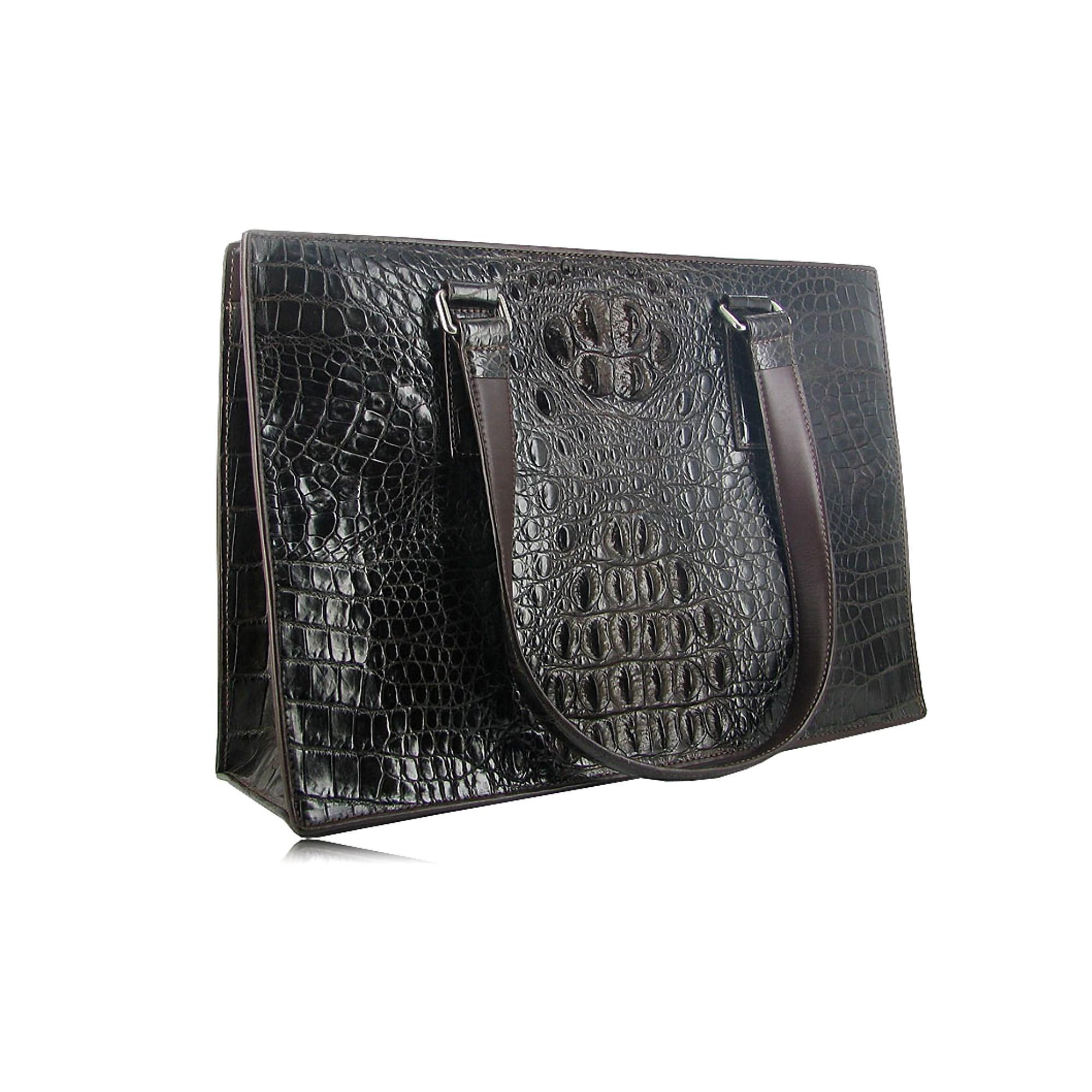 Женская расширенная сумка из кожи крокодила (цвет - шоколад)