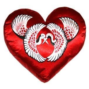 Подушка-сердце «Пара журавлей»