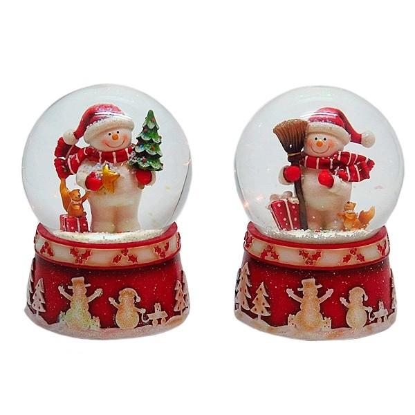Декоративная фигурка в стеклянном шаре с музыкой Снеговик