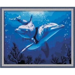 Картина для рисования по номерам Дельфины