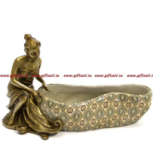 Вазочка для мелочи Декор Медичи из фарфора и бронзы