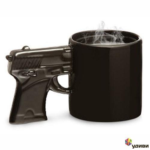 Черная кружка с посеребренной ручкой Пистолет, Эврика