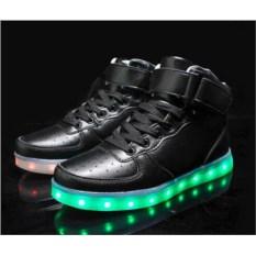 Черные светящиеся LED кроссовки с высоким подъемом