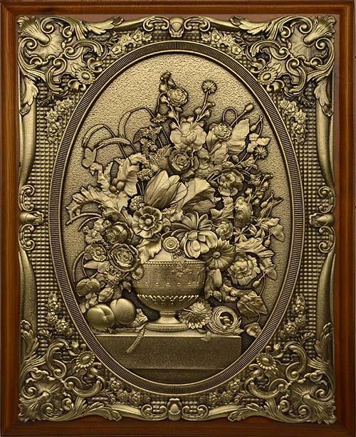 Деревянная ключница настенная Цветы в вазе