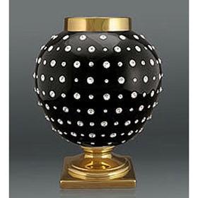 Ваза с кристаллами Сваровски, черная с золотым
