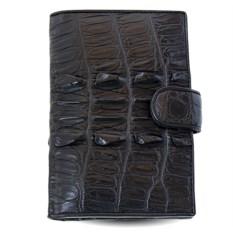 Черное портмоне для автодокументов из кожи хвоста крокодила