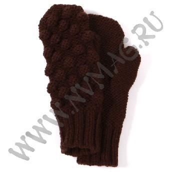 Варежки с шишками, коричневые