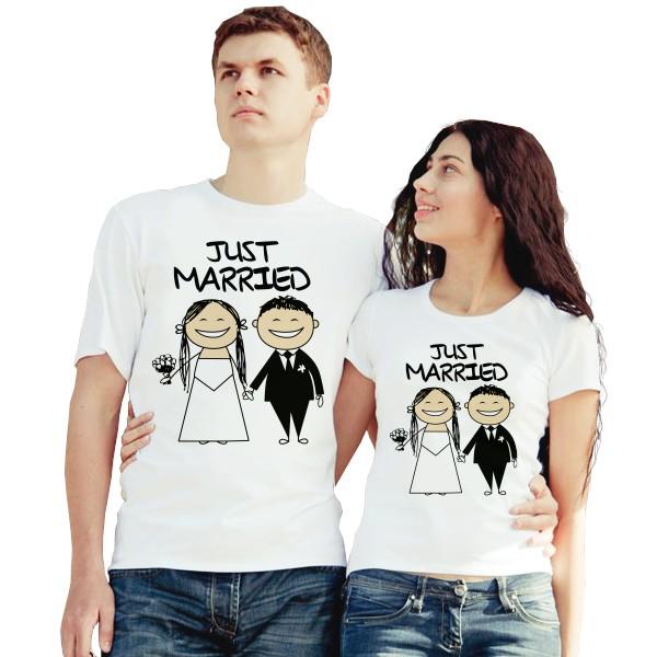 Парные футболки Just Married, жених и невеста