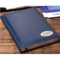 Синий недатированный ежедневник с посеребренным срезом