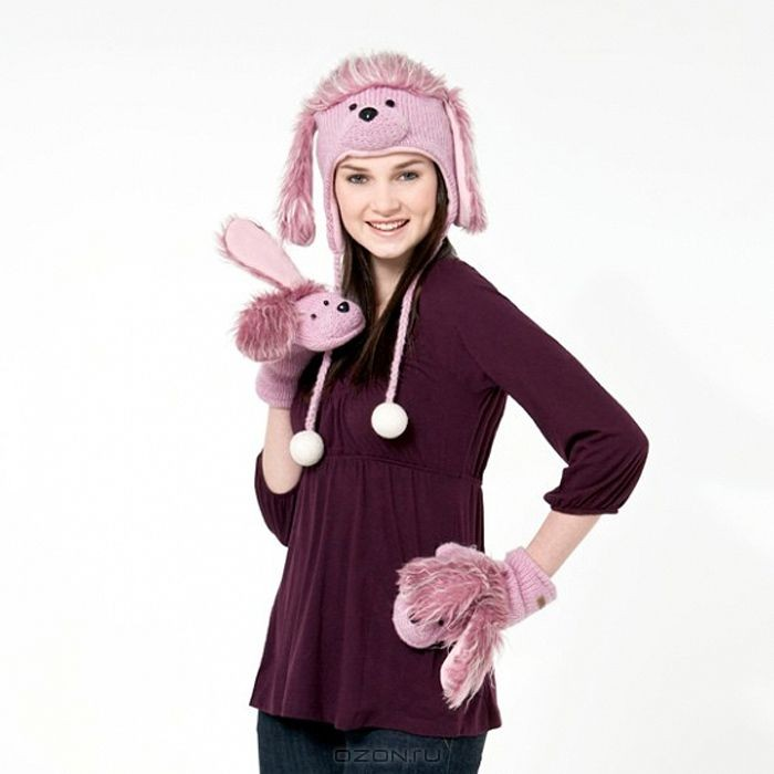 Шапка Knitwits™ Розовый пудель из новозеландской шерсти