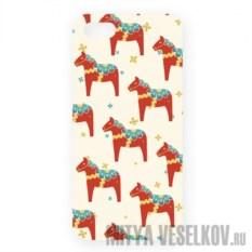 Чехол для IPhone 5 Много скандинавских лошадок