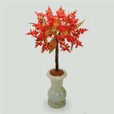 Весеннее дерево из коралла в вазочке из оникса