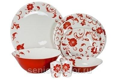 Столовый сервиз Royal Fine China (Амата Красный) на 6 персон