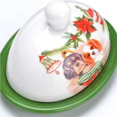 Маслёнка с крышкой Собачки с гирляндой
