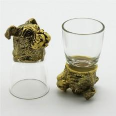 Набор рюмок-перевертышей с головами животных Бульдог