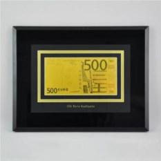 Картина с банкнотой 500 Euro с сусальным золотом
