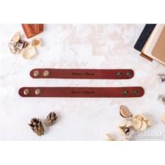 Коричневые парные браслеты «Сладкая парочка» с гравировкой
