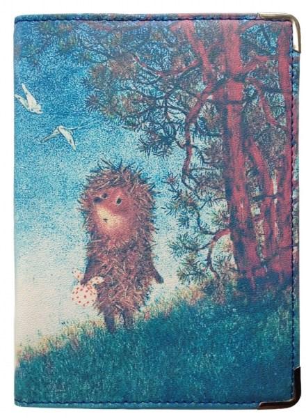 Кожаная обложка для паспорта Ежик на пригорке