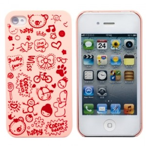Розовый чехол для iPhone4 Happy