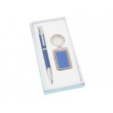Набор: синие шариковая ручка и брелок