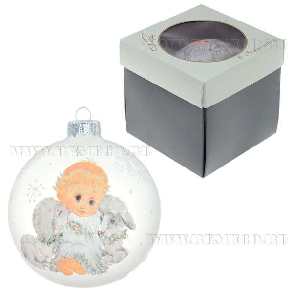 Стеклянный новогодний шар Ангел с овечками