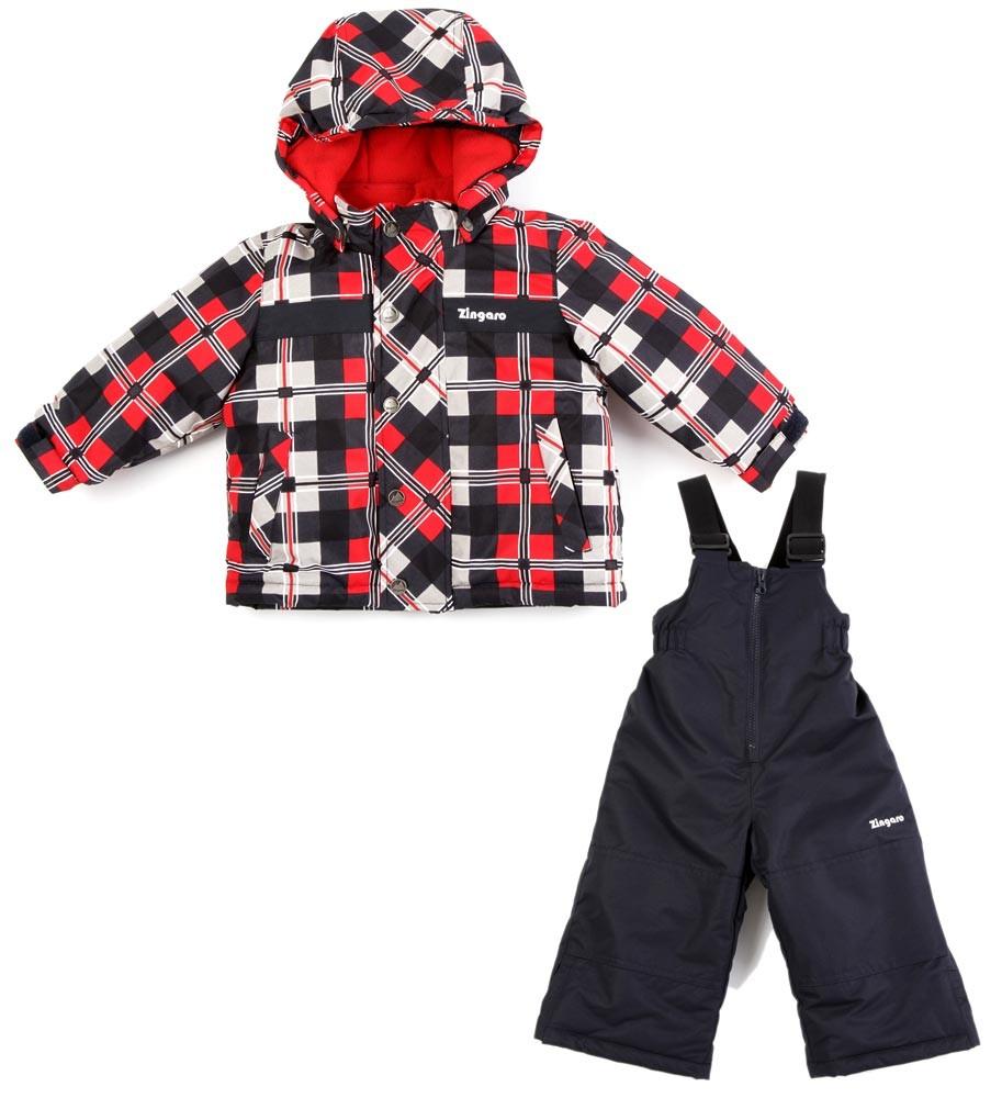 Комплект куртка и полукомбинезон, цвет: красный/черный