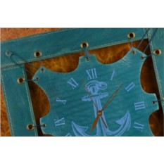 Часы из кожи Якорь (синий)