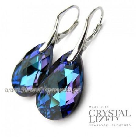 Серьги Синий Миндаль с кристаллами Swarovski