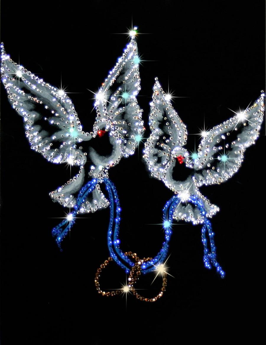 Картина с кристаллами Сваровски Любовь и голуби