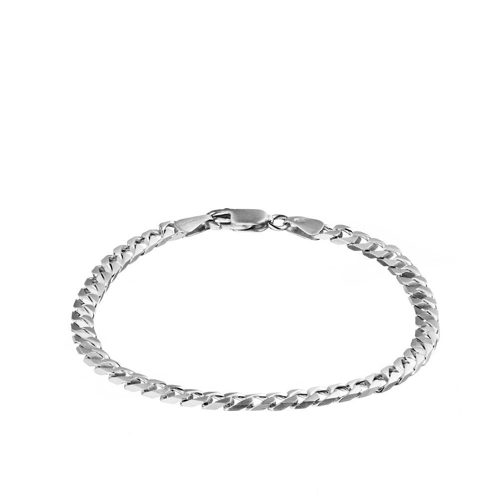 Серебряный мужской браслет, плетение Квадратный панцирь