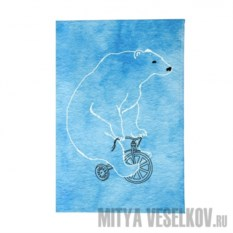 Обложка для автодокументов Мишка на велосипеде