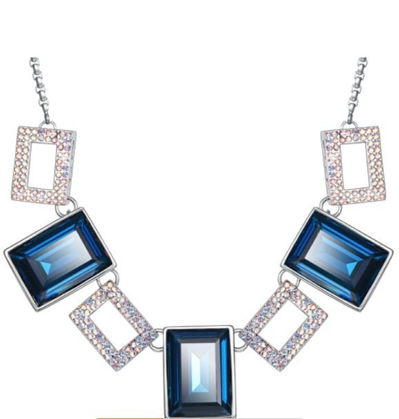 Колье «Безупречность» с синими кристаллами Сваровски