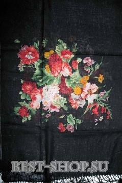Палантин из пашмины, черный с цветами
