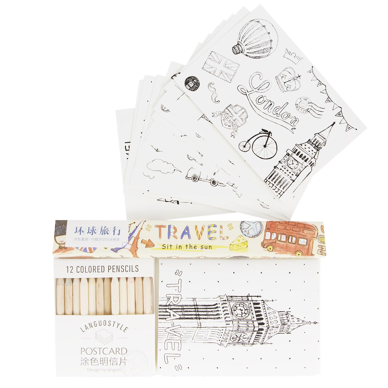 набор раскраска антистресс и карандаши путешествия