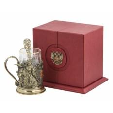 Набор для чая в кожаном футляе Россия, бронза