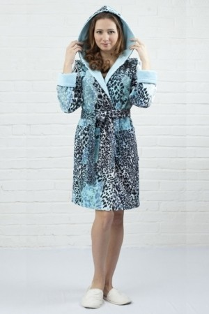 Женский халат из хлопка с капюшоном Five Wien Леопард
