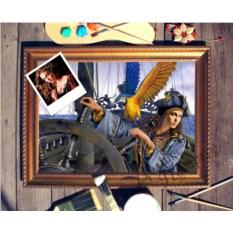 Портрет по фото Девушка за штурвалом корабля