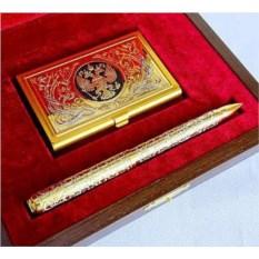 Набор «Металлическая визитница и ручка»