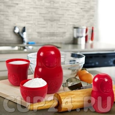 Мерные чаши Матрешки (красные, набор 3 шт.)