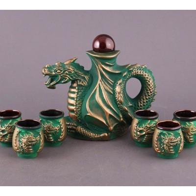 Штоф и 6 стопок «Дракон в зелёном»