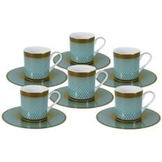 Кофейный набор Бирюза из 6 чашек и 6 блюдец