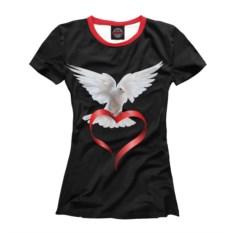 Черная женская футболка с голубем Love You