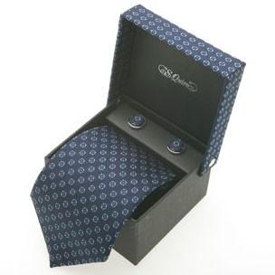 Набор из галстука и запонок S.Quire, квадраты на синем