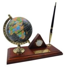 Настольный набор с глобусом, ручкой и часами 23x9x1.8 см